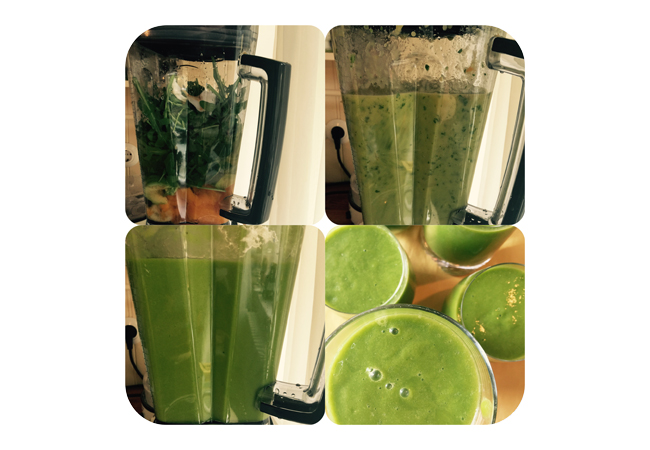 Grüner Smoothie mit Mango